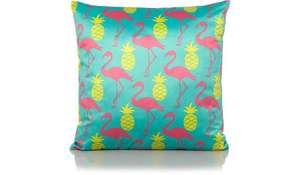Flamingo and pineapple print cushion 60p at Asda online