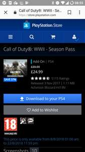 Call of duty WWII Season Pass on PS Store £24.99