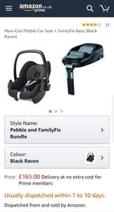 Maxi-cosi Pebble Car seat with Family Fix base £165 plus spend £200 to get 10% off @ Amazon