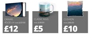 Canvas for £12 - Mug £5 - Cushion £10* at Picanova (Shipping costs from £7.99)