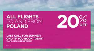 Wizz Air - 20% off All Flights to and from Poland if You Book Today