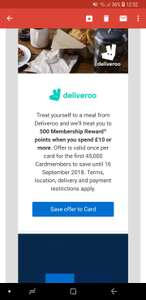 American Express 500 Extra Points for Spending £10 or more on Deliveroo