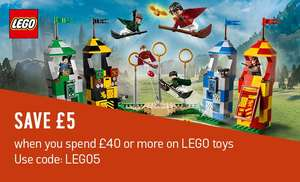 £5 off £40 spend on Lego  stacks with 2 for £15 / 2 for £30 / clearance and Harry Potter eg Spiderman 76083 was £44.99 now £24.99 plus in offer. More in op @ Argos