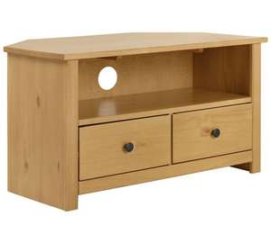 Argos Home Porto Solid Wood Corner TV Unit - Oak Effect only £57.99 + £6.95 delivery