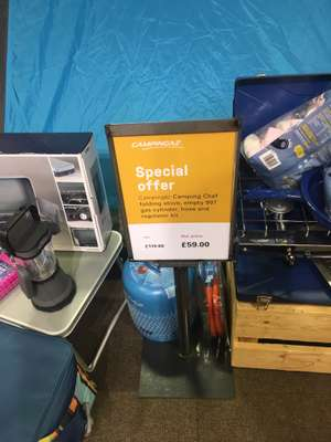 Great price on a folding double stove, ideal for camping - includes cylinder, regulator and pipe @ Cotswold Outdoors, Durham - £59
