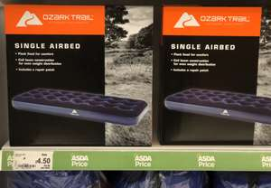 Ozark Trail® Single Air Bed was originally £15 then £9 now reduced to clear for £4.50. Double Air Bed £5.50 (comes with 1 year guarantee) Many other outdoor/summer items reduced to clear @ Asda