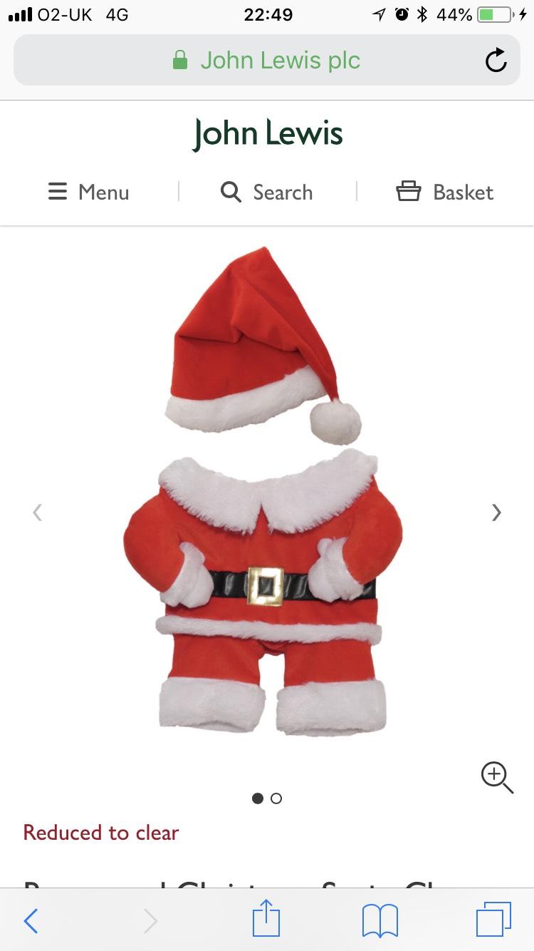 Santa Claus pet costume was £10.99 now £3.30 John Lewis