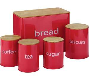 ColourMatch Set of 5 Wooden Lid Storage Jars - Black was £26.49 now £11.99 / Red £12.99 C+C @ Argos - more in OP