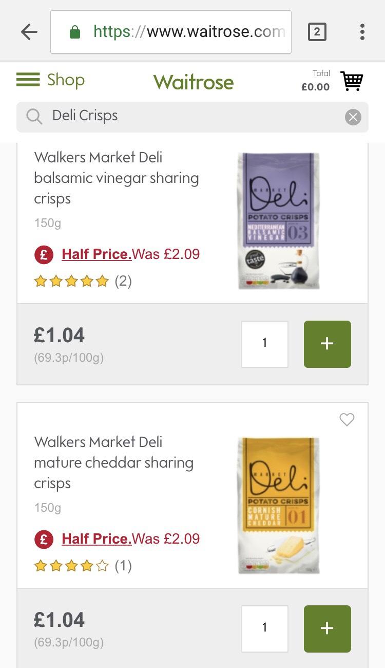 Walkers Market Deli Crisps all flavours half price £1.04 at Waitrose
