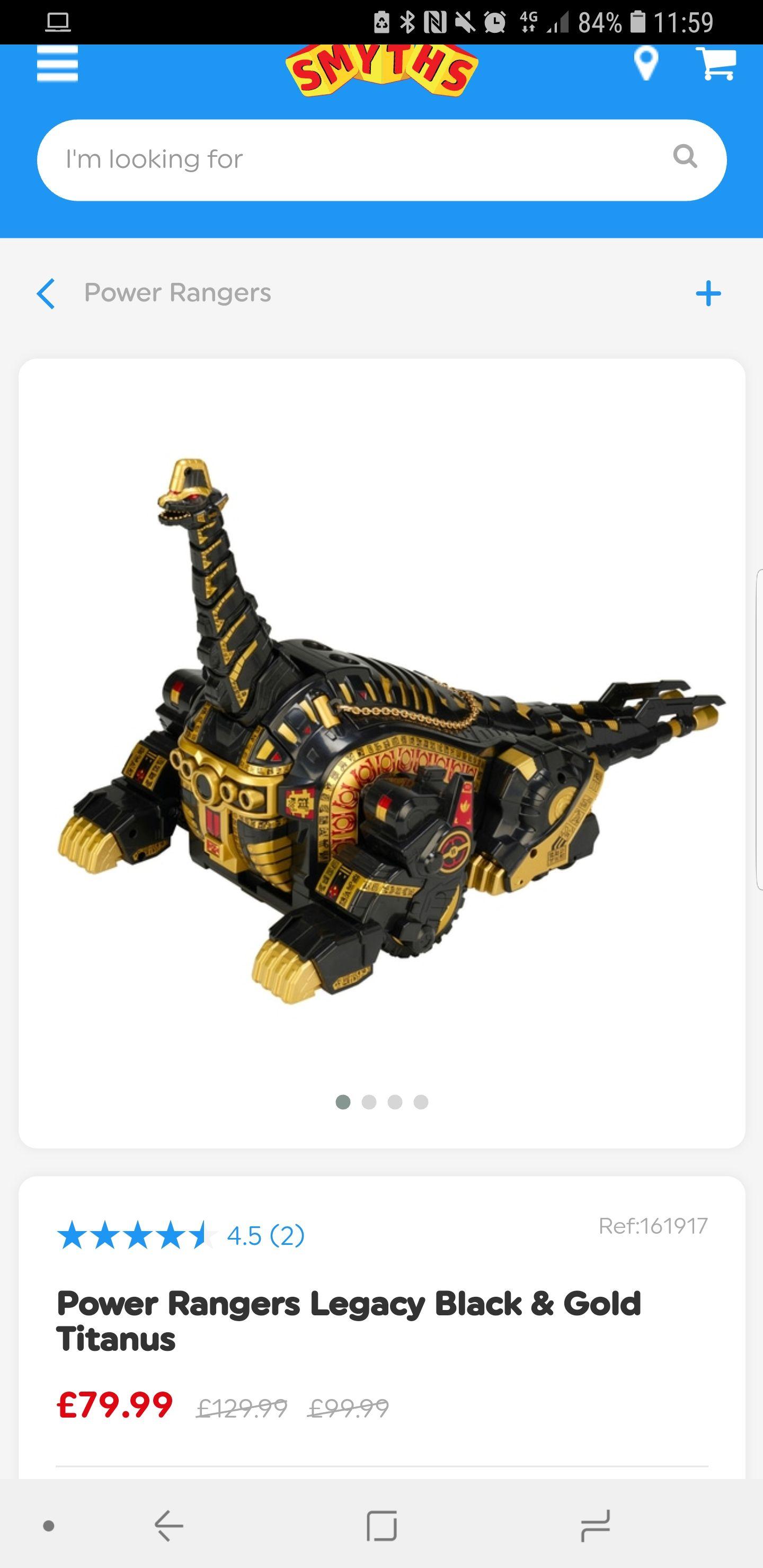 Power Rangers Legacy Titanus Black and Gold - £79.99 @ Smyths toys