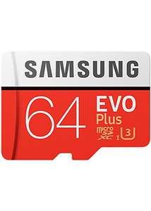 Samsung Memory Evo Plus 64GB Micro SDXC Card UHS-I U3 Class 10 100MB/s with SD Adapter £14.99 	Base.com