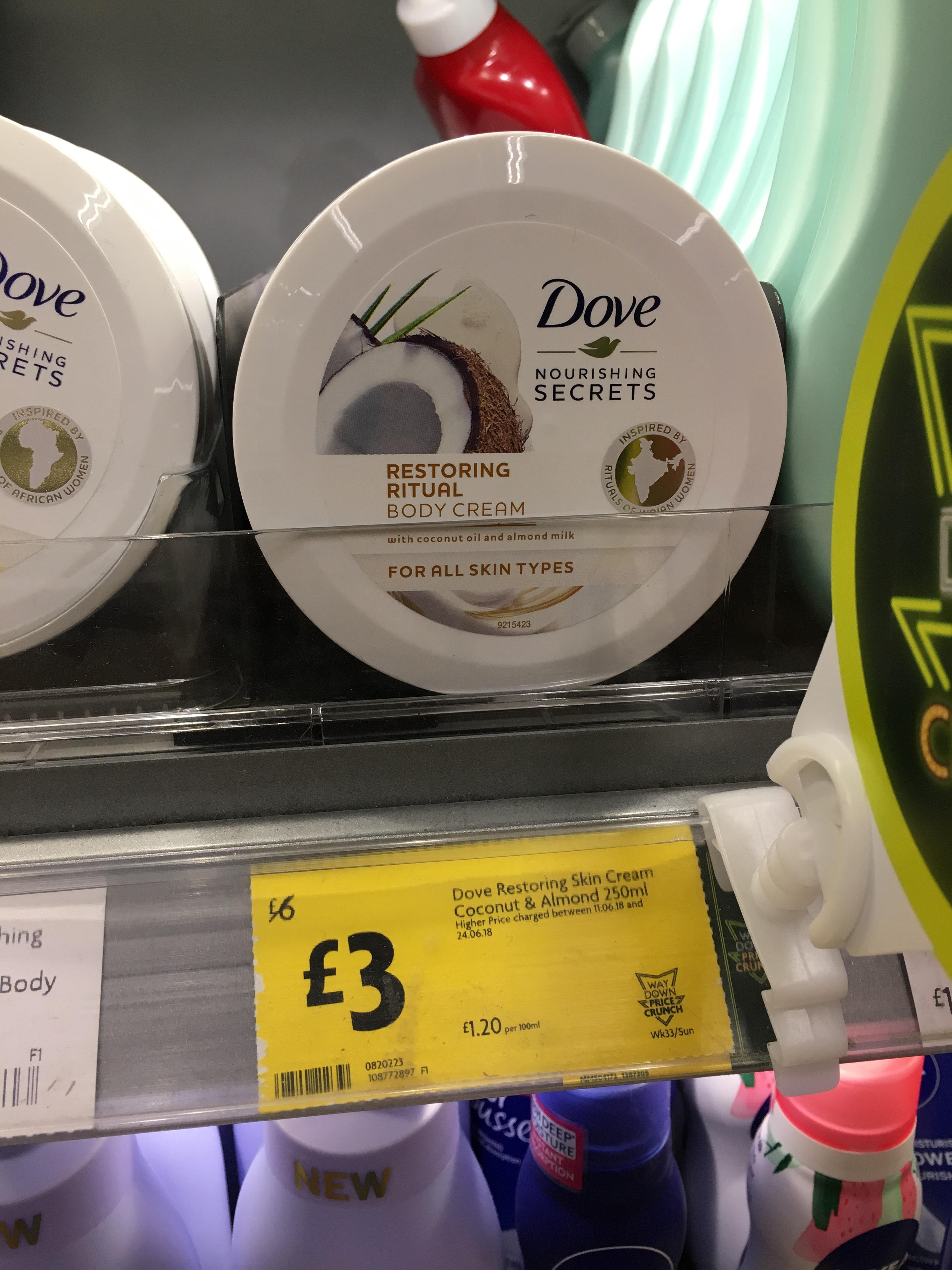 Dove Coconut and Almond skin cream Morrison's £3