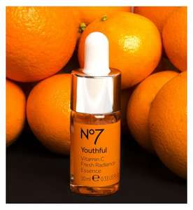 Offer stack - No7 Youthful Vitamin C Fresh Radiance Essence Reduced to £15 Plus 3 for 2 Plus £5 discount with code online get 3 for £25 thats less than half price free C&C code gives £5 off £25 spend on any No7 @ Boots