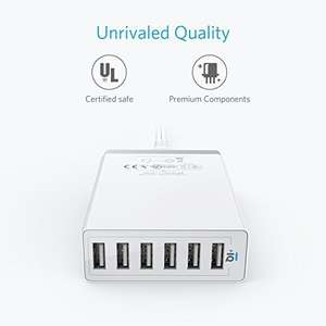 Anker 6-port 60W USB Charger - Sold by Anker Direct / Fulfilled by Amazon - £16.14 Prime / £21.09 non-Prime