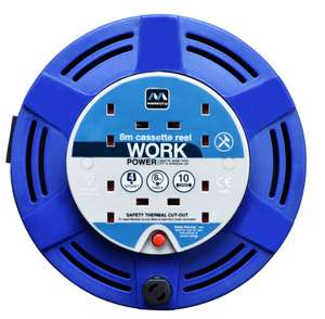 Masterplug 4 Socket Medium Cassette Reel - Blue 8m £7 @ Wickes (Free C&C)