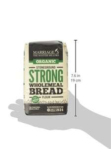 Marriages Organic Strong Stoneground Wholemeal Bread Flour 1 kg (Pack of 6) at Amazon for £6.54 Prime (£10.53 non Prime)
