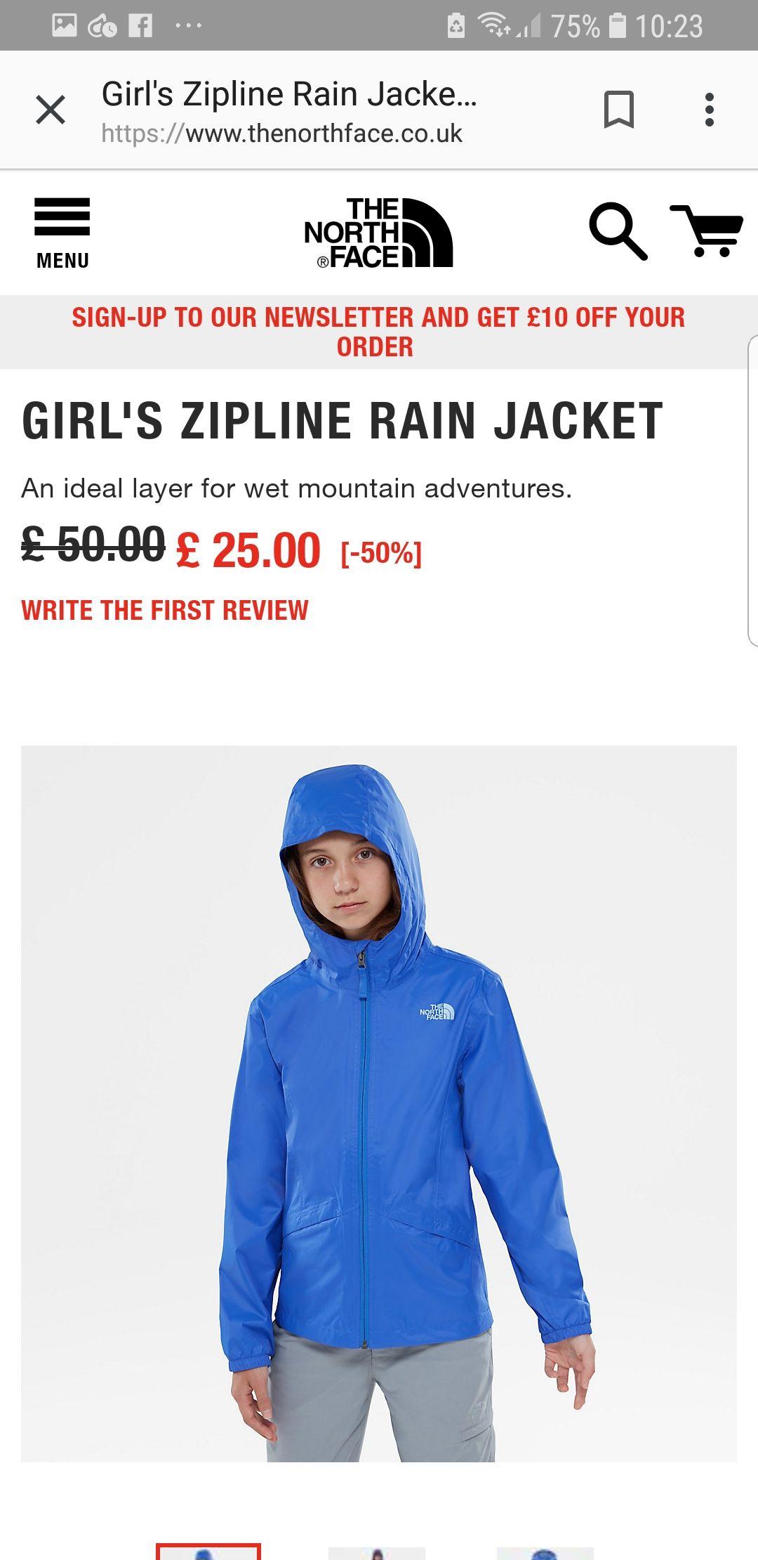 Girls North Face zipline rain jacket £25 free delivery @ TheNorthFace
