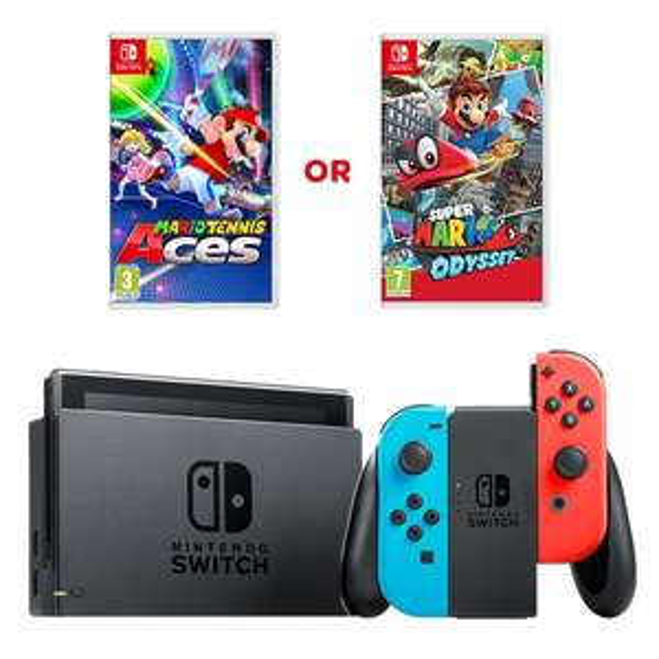 Nintendo Switch Grey/Neon and Mario Odyssey/Tennis/Kart or Splatoon 2 £289.99 @ Smyths Toys