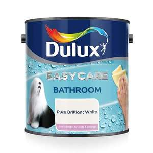 Dulux Easycare Bathroom Plus Soft Sheen Paint, Pure Brilliant White, 2.5 Litre - £14 (Prime) £18.49 (Non Prime) @ Amazon