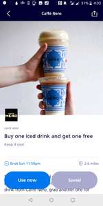(Caffe nero) Buy one get one free on iced drink - O2 priority