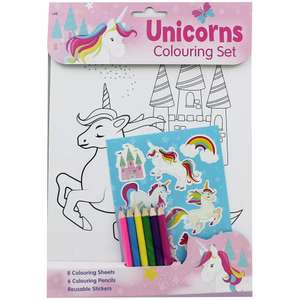 Colouring Set 8 A4 Sheets, 6 pencils & Stickers choose from Unicorn Emoji or LOL Surprise Links in op only £1.20 with code free c&c @ The Works