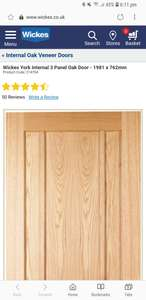 OFFER ENDS TODAY Wickes York Internal 3 Panel Oak Door - 1981 x 762mm reduced from £104 to £65