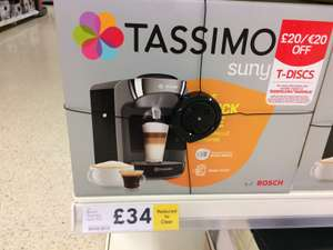 Bosch Tassimo Suny T32 instore at Tesco for £34