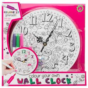Colour Your Own Wall Clock Kit set inc pens & gemstones In Store £5.99 @ B&M Stores