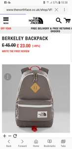 North Face backpack £23 free delivery others in description @ NorthFace