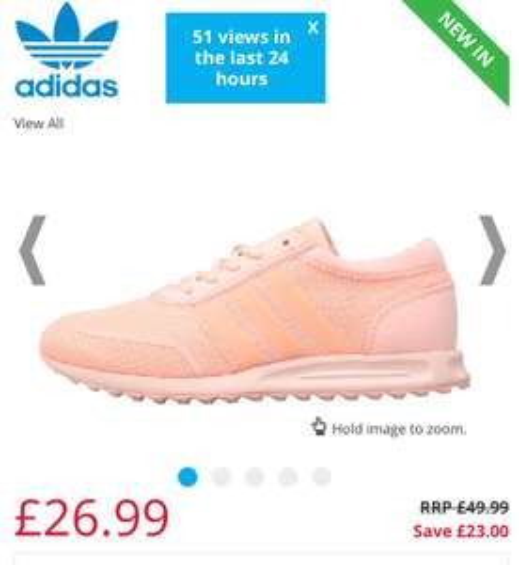 adidas Originals Junior Los Angeles Trainers adult size 3 - 6.5 £26.99 p&p £4.49 @ MandM direct