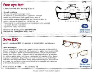 Boots free eye test + £20 off when you spend £90on any pair of glasses