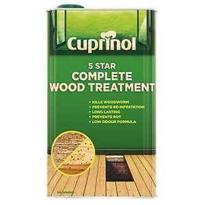 CUPRINOL 5 STAR COMPLETE WOOD TREATMENT CLEAR 5LTR @ screwfix was £33.33 now £18.99