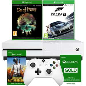 Xbox One S 1TB with Forza Motorsport 7, Sea Of Thieves, 3 Month Live + 3 Month Gamepass and Download Code for PUBG Bundle - White £211.65 @ AO eBay. Price is with code applied