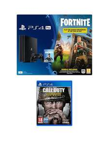 PS4 PRO Black Console With Fortnite Royal Bomber Skin And 500 V Bucks With Call Of Duty WWII £369.99 @ Very