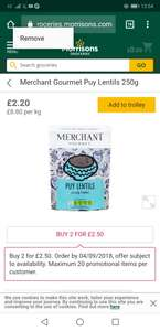 Merchant Gourmet Puy Lentils 2 packs for £2.50 in Morrisons (instead of £2.20 each)