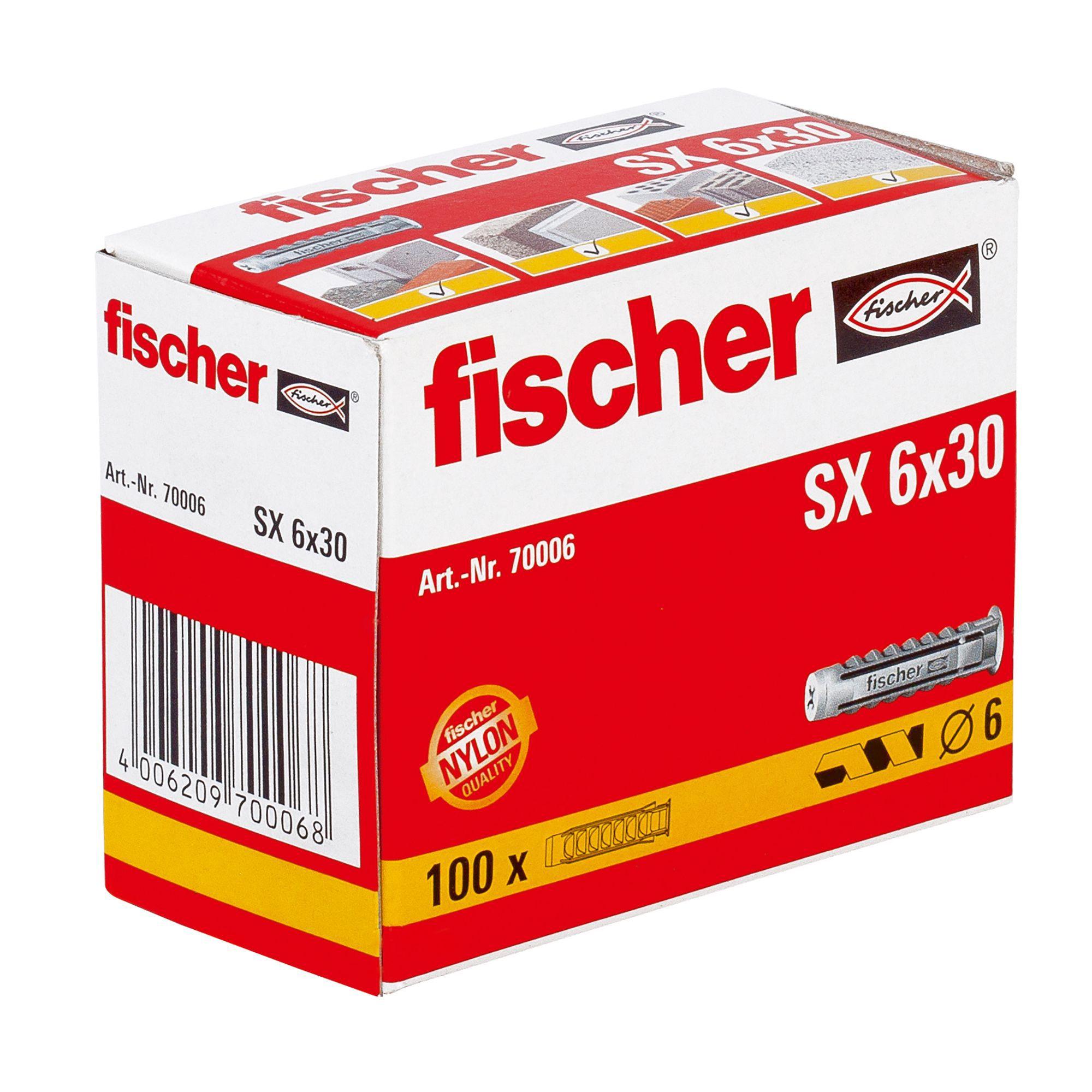 100 Fischer SX 6x30 Nylon Solid Wall Plug. Save 40% £2.35 @ B&Q (free C&C)
