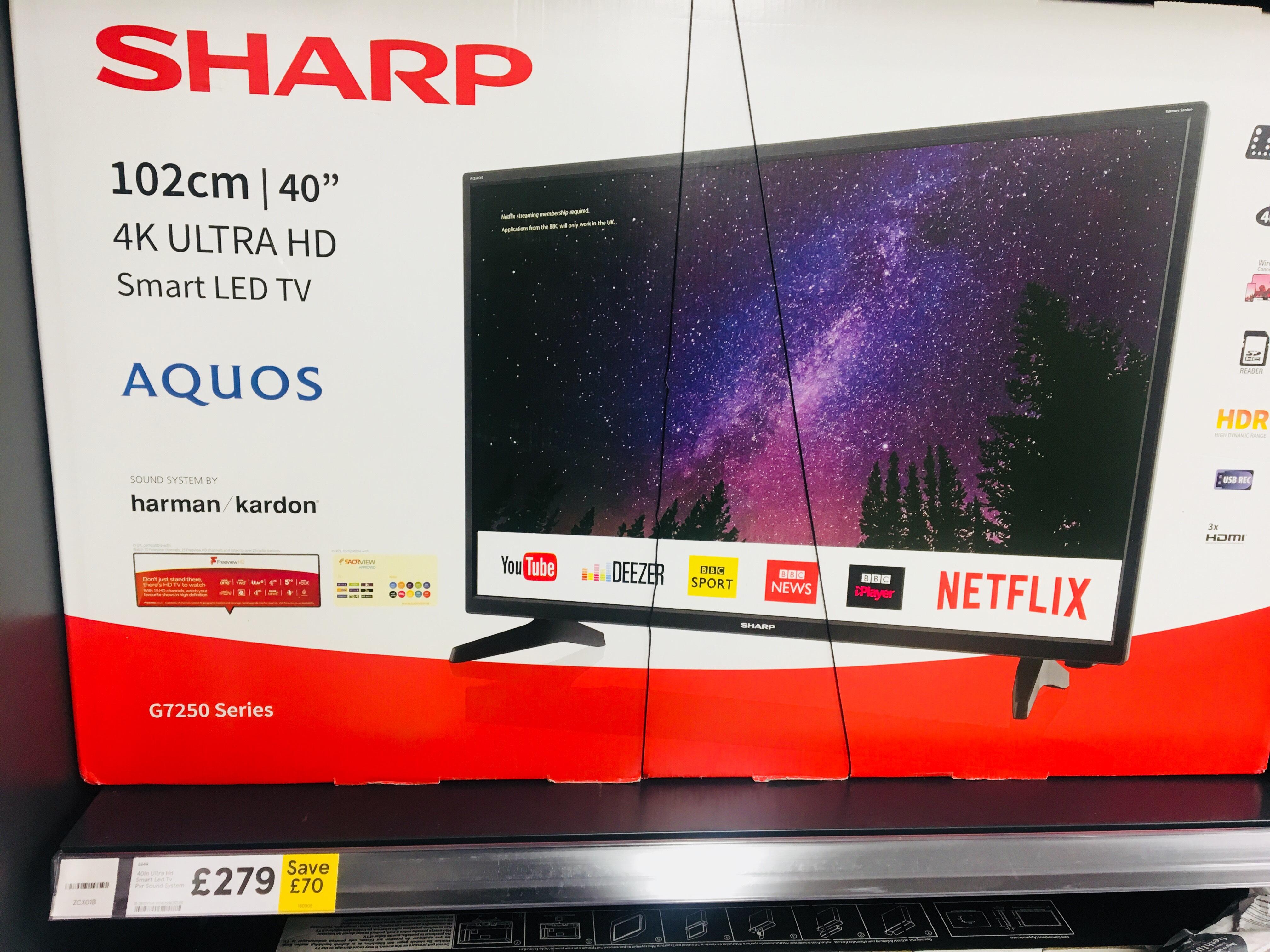 Sharp Aquos G7250 40'' 4K UHD  LED TV - £279 instore at Tesco
