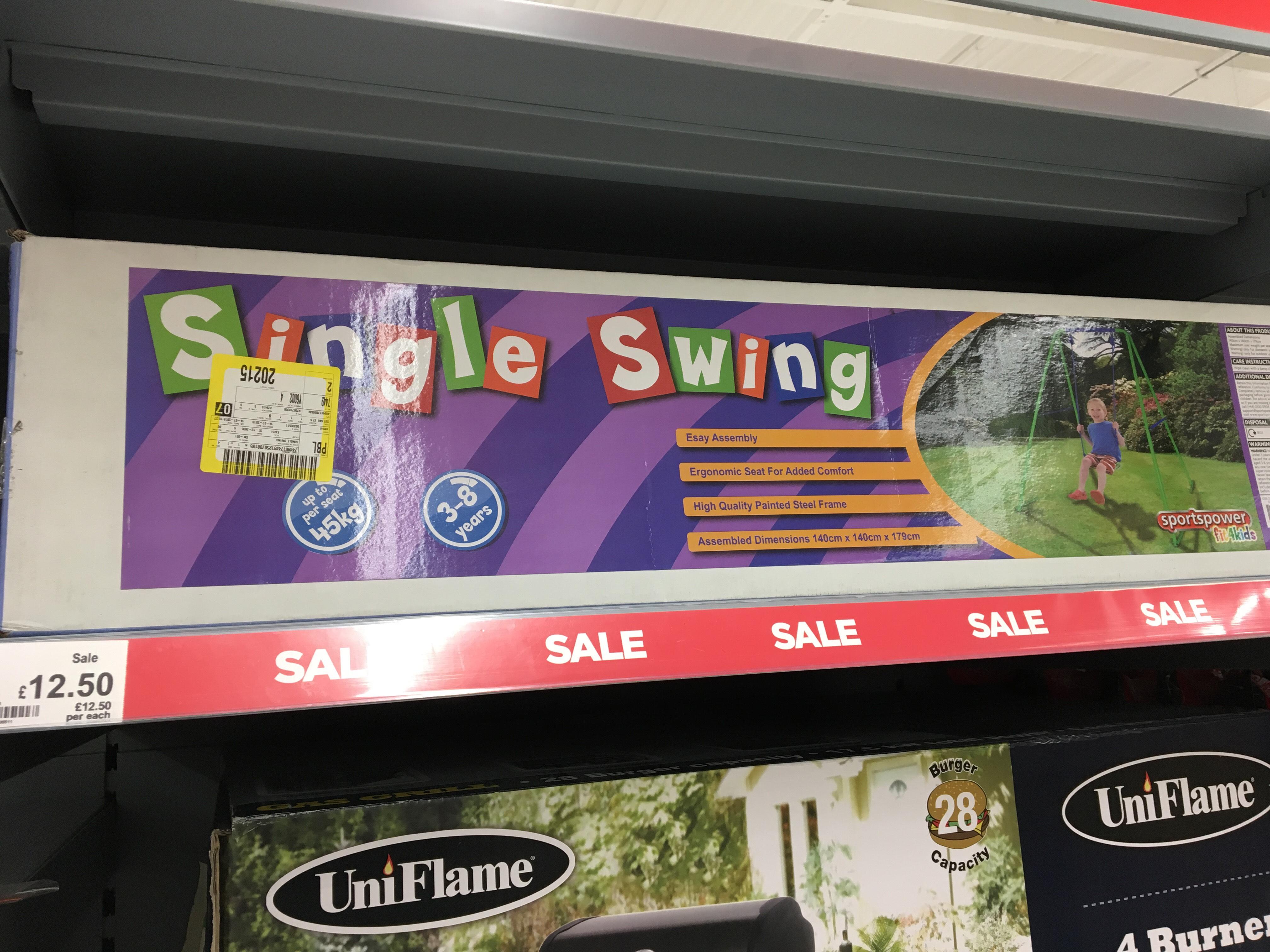 Single Swing - Age 3+ - Reduced to £12.50 @ Asda (Washington)
