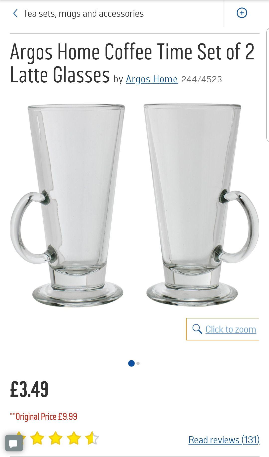 Argos Home Coffee Time Set of 2 Latte Glasses - £3.49 @ Argos (free C&C)