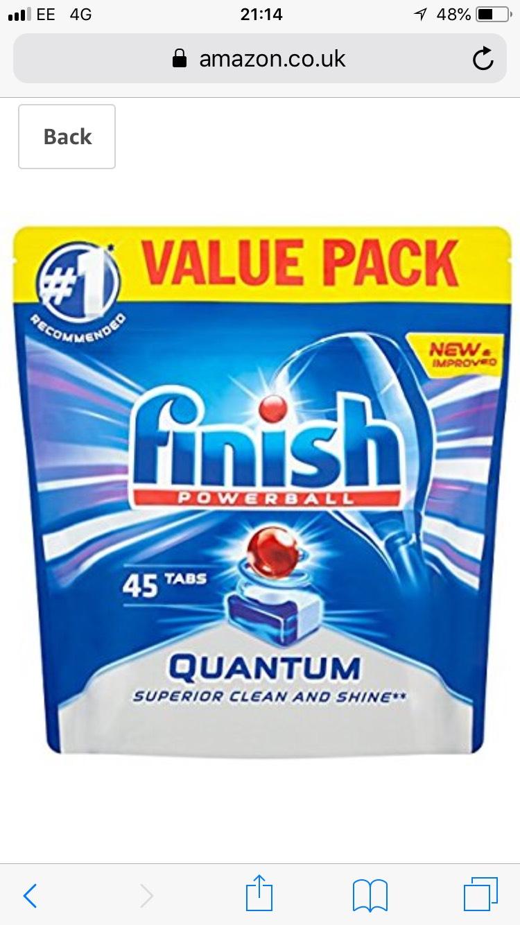 Finish Quantum Dishwasher Tablets - Regular, 45 Tablets Amazon Pantry - £2.81 (+£2.99 P&P)