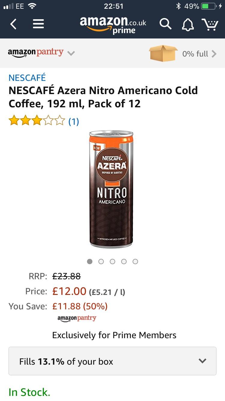 12 Pack - NESCAFÉ Azera Nitro Americano Cold Coffee, 192 ml - Only £12 @ Amazon