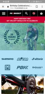 10% off with free delivery over £15 spend @Probikekit