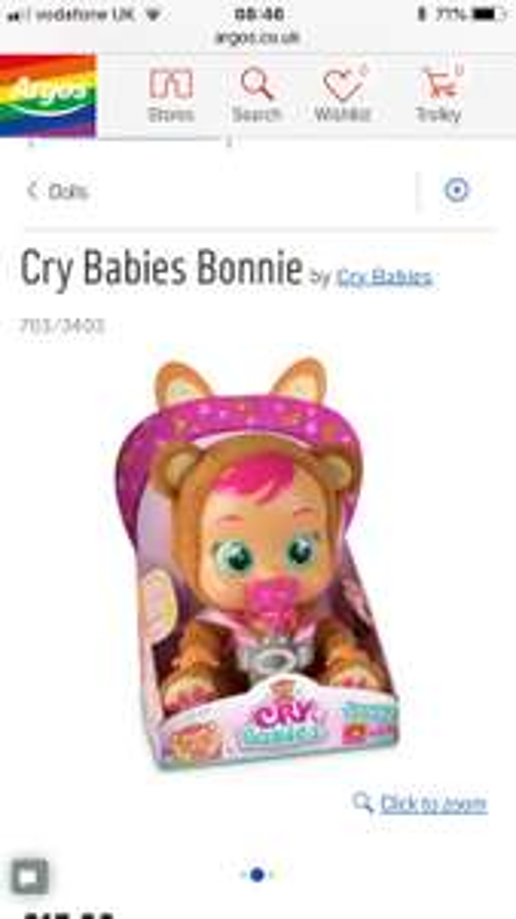 Argos- Cry babies Bonnie now £15.99