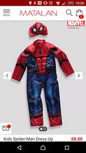 Spiderman dress up/fancy dress £8 with free c+c @ Matalan sizes 4-9 years in stock