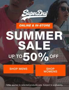 Summer sale now live at superdry upto 50% off on men's and womens + Free Delivery & Returns