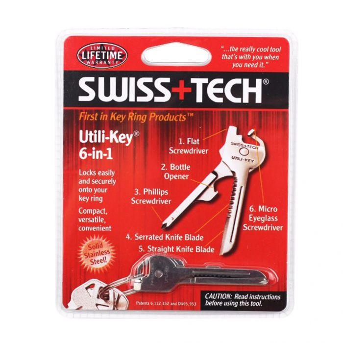 Swiss Tech 6 in 1 Stainless Steel Utili-Key Keychain Multi-tool 68p @ Zapals