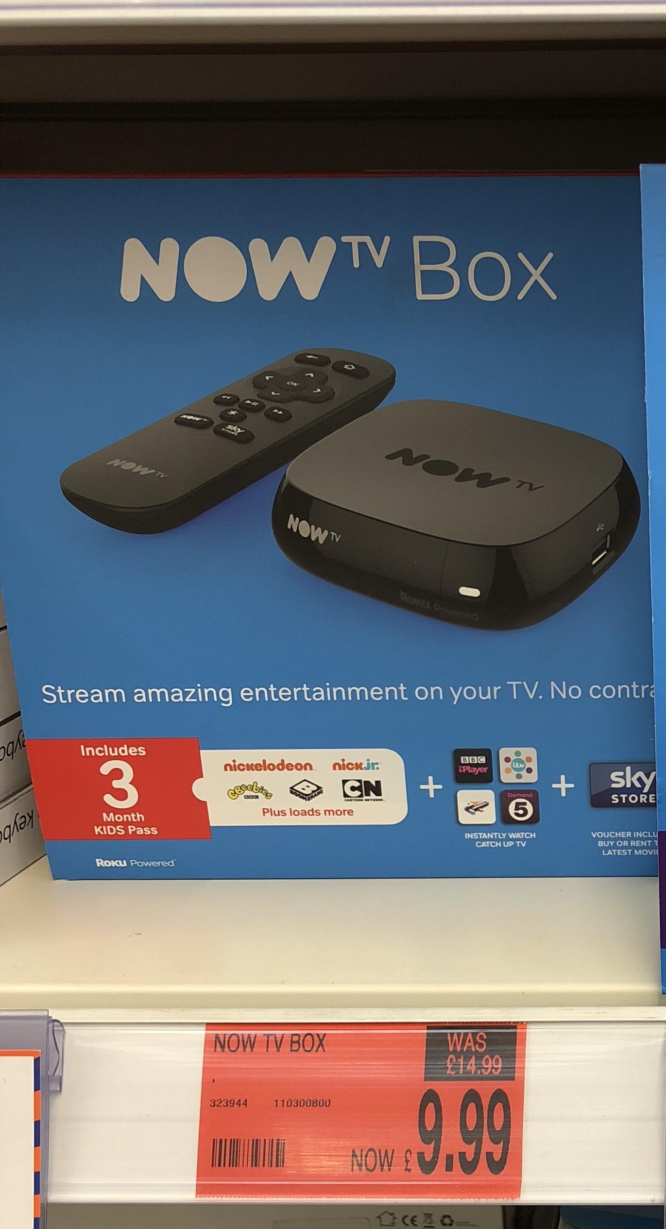 Now TV Box + 3 months Kids Pass £9.99 B&M