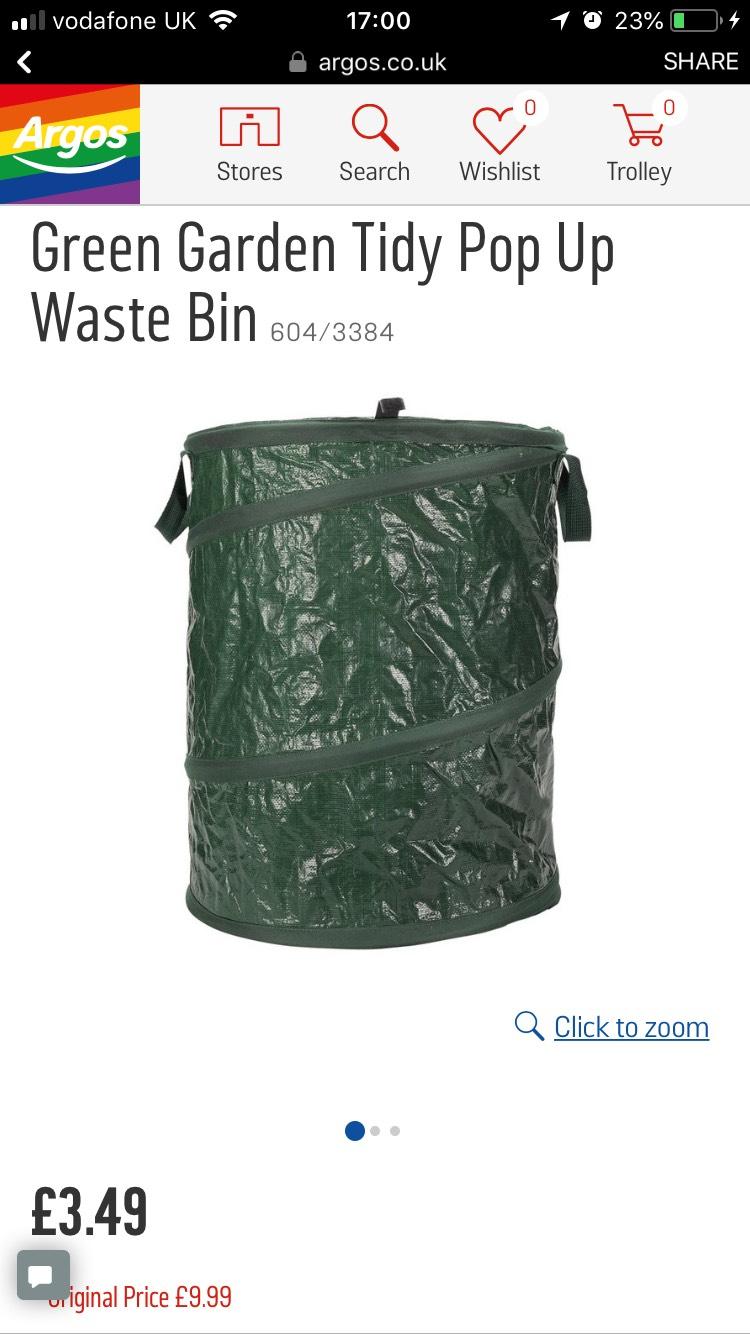 Green Garden pop up Waste bin £3.49 @ Argos