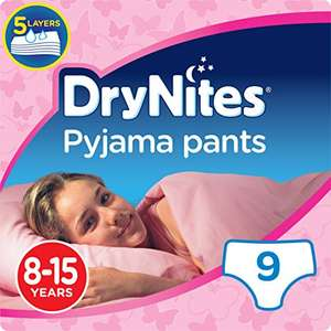 For Older Children - Huggies DryNites Pyjama Pants for Girls And Boyd, Age 8-15 - 9 Pants Total £1.57 @ Amazon Pantry