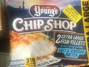X2 youngs extra large fish fillets with a salt & vinegar batter (dated april 2019) £0.38p instore at morrisons